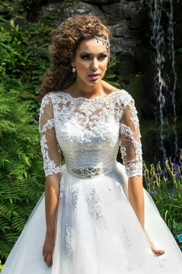 Delicate Lace Appliques Half Sleeve Wedding Dress Crystal Lace-up Sweep Train_1