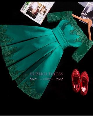 Lace Green Short Appliques Charming Half-Sleeve Homecoming Dress UK BA3856_1