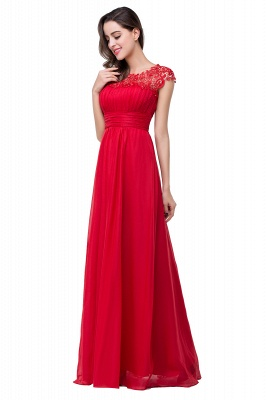 Newest Red Chiffon Lace Prom Dress UK Zipper Illusion Cap Sleeve_3