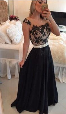 Sexy Square Chiffon Black Prom Dress UK Appliques Pearls BT0_4