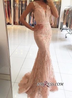 Mermaid Long Lace Elegant Pink Evening Dress UKes UK BH354_4