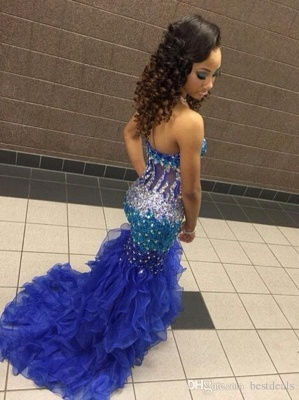 Modern Strapless Royal Blue Prom Dress UKes UK Crystal Organza Mermaid Party Gowns BK0_3