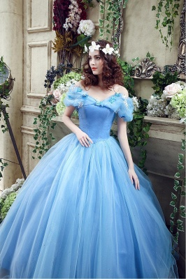 Princess Off-the-Shoulder Sequins Tulle Ball Gown Wedding Dress On Sale_7