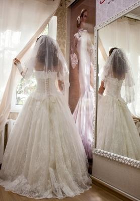 Elegant Strapless Lace Wedding Dress Sleeveless Lace-up Bridal Gown_3