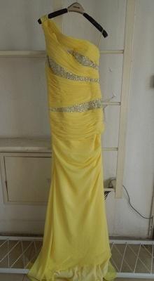 New Gorgeous Yellow Evening Dress UKes UK One Shoulder Long Beading Chiffon Prom gowns_1