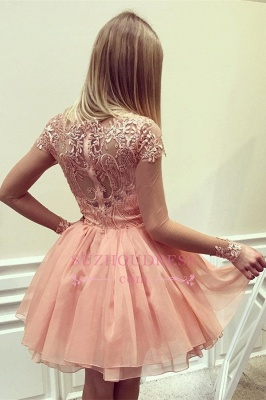 Appliques Gorgeous Short Long-Sleeves A-Line Homecoming Dress UK_1