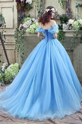 Princess Off-the-Shoulder Sequins Tulle Ball Gown Wedding Dress On Sale_5