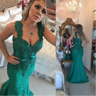 Gorgeous Green Lace Mermaid Evening Dress UK Long With Beadings BMT_3