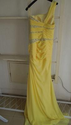 New Gorgeous Yellow Evening Dress UKes UK One Shoulder Long Beading Chiffon Prom gowns_2