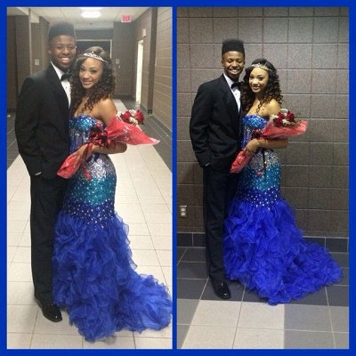 Modern Strapless Royal Blue Prom Dress UKes UK Crystal Organza Mermaid Party Gowns BK0_4