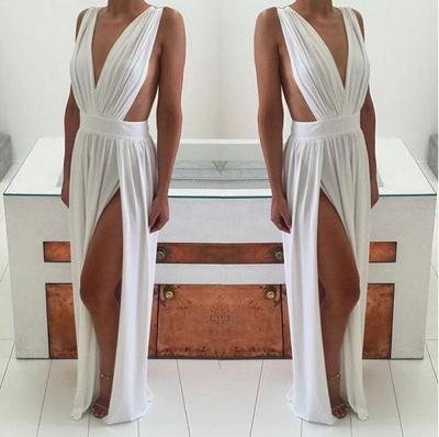 Elegant White Sleeveless Prom Dress UK Deep V-Neck Long Chiffon BA6967_4