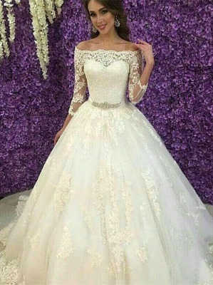 Princess Off-the-Shoulder Long Sleeve Wedding Dress Lace Tulle_1