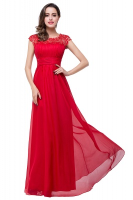 Newest Red Chiffon Lace Prom Dress UK Zipper Illusion Cap Sleeve_8