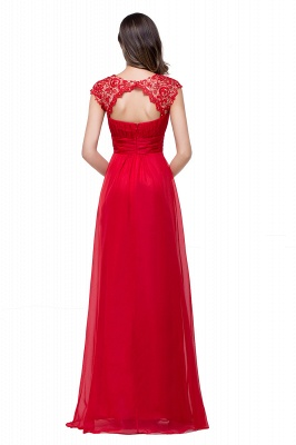 Newest Red Chiffon Lace Prom Dress UK Zipper Illusion Cap Sleeve_5