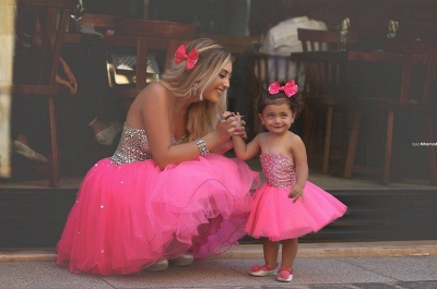Gorgeous Sequins Tulle Short Mother And Daughter Dress UK Sweetheart BA3116_5