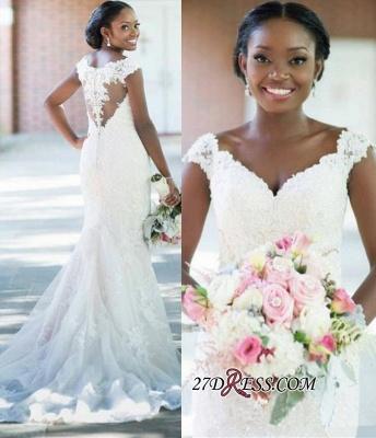 Sheath Elegant Tulle Lace  V-neck Sleeveless Long-Train Wedding Dress_2