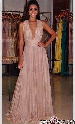Cross-Back Length Elegant Deep-V-Neck Sheath Floor Prom Dress UK_1