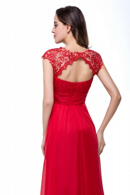Newest Red Chiffon Lace Prom Dress UK Zipper Illusion Cap Sleeve_6