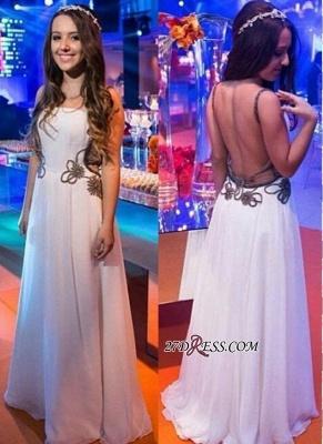 Chic Backless White A-line Floor-length Evening Dress UK_2