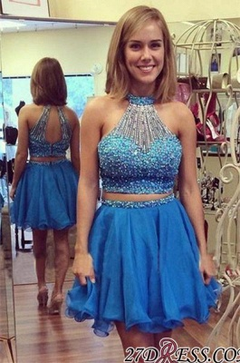 Mini Two-Piece Luxury Crystals Halter A-line Homecoming Dress UK_2