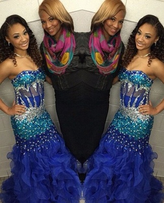 Modern Strapless Royal Blue Prom Dress UKes UK Crystal Organza Mermaid Party Gowns BK0_5