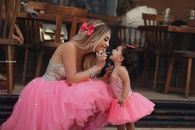 Gorgeous Sequins Tulle Short Mother And Daughter Dress UK Sweetheart BA3116_3