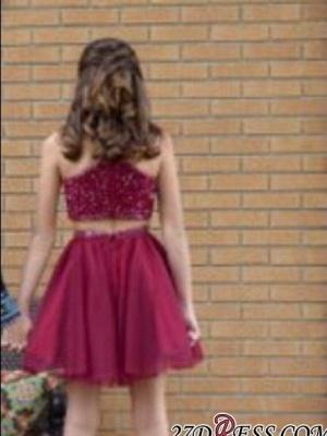 Sleeveless Red Luxury Two-Piece A-line Bead Homecoming Dress UKes UK_4