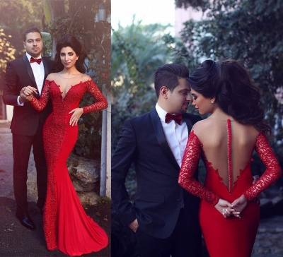 Elegant Red Long Sleeve Lace Evening Dress UK Mermaid Zipper Button Back_3