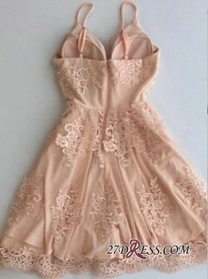 Sleeveless Zipper Lace Spaghetti-Strap Short Cute Homecoming Dress UK_1