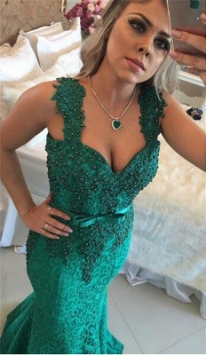 Gorgeous Green Lace Mermaid Evening Dress UK Long With Beadings BMT_1