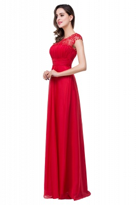 Newest Red Chiffon Lace Prom Dress UK Zipper Illusion Cap Sleeve_4