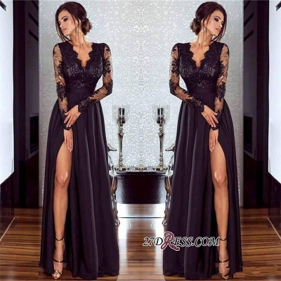 Lace Long Prom Dress UK | Long Sleeve Evening Gowns With Split_2