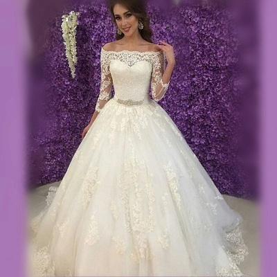 Princess Off-the-Shoulder Long Sleeve Wedding Dress Lace Tulle_4
