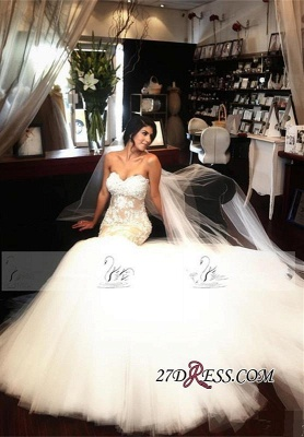 Lace-Appliques Tulle Sleeveless Sweetheart Sexy Mermaid Delicate Wedding Dress_4