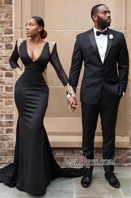 Black prom Dress UK, long sleeve evening Dress UK BK0 BA8839_2
