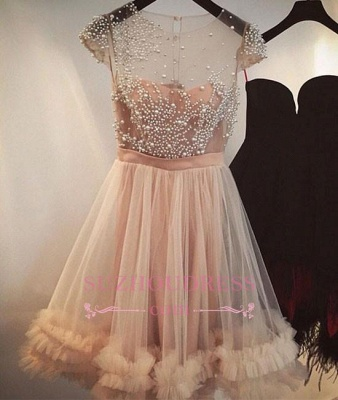 Tulle A-line Beading Capped-Sleeves Sheer Champagne Homecoming Dress UKes UK_1