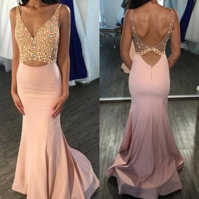Elegant V-Neck Sleeveless Mermaid Prom Dress UK Floor Length On Sale_4