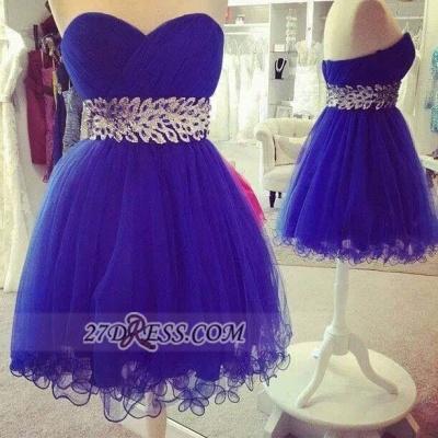 Elegant Sweetheart Sleeveless Short Homecoming Dress UK Zipper Beadings Crystals Cocktail Gown_2