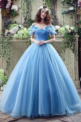 Princess Off-the-Shoulder Sequins Tulle Ball Gown Wedding Dress On Sale_1