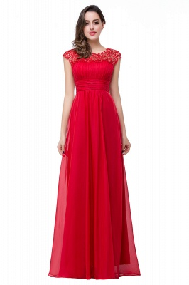Newest Red Chiffon Lace Prom Dress UK Zipper Illusion Cap Sleeve_1