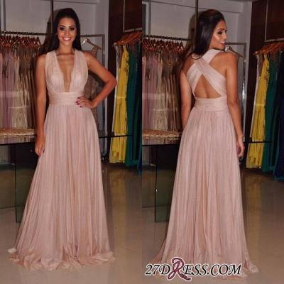 Cross-Back Length Elegant Deep-V-Neck Sheath Floor Prom Dress UK_2