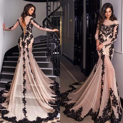 Gorgeous Long Sleeve Black Lace Evening Dress UK Mermaid Lace-up Back BA4265_2