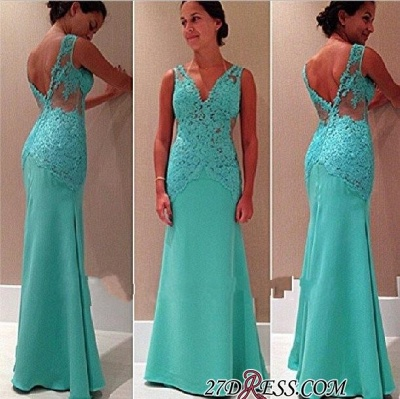 Lace Elegant V-Neck Open-Back Mermaid Sleeveless Party Dress UK_1