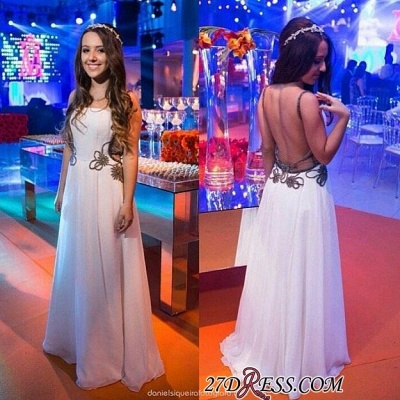 Chic Backless White A-line Floor-length Evening Dress UK_1