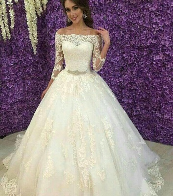 Princess Off-the-Shoulder Long Sleeve Wedding Dress Lace Tulle_3