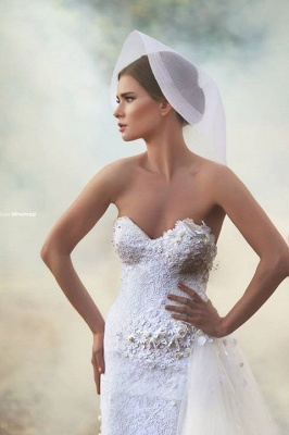 Romantic Sweetheart Tulle Wedding Dress Lace Appliques Flowers_3