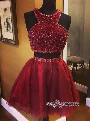 Sleeveless Red Luxury Two-Piece A-line Bead Homecoming Dress UKes UK_5