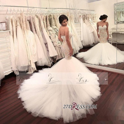 Lace-Appliques Tulle Sleeveless Sweetheart Sexy Mermaid Delicate Wedding Dress_3