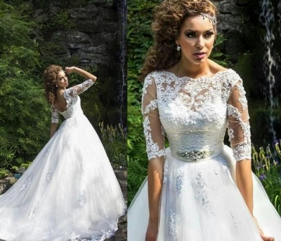 Delicate Lace Appliques Half Sleeve Wedding Dress Crystal Lace-up Sweep Train_4