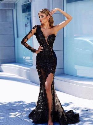Modern Black Lace One-Shoulder Prom Dress UK | Front Split Evening Gown BA9571_1